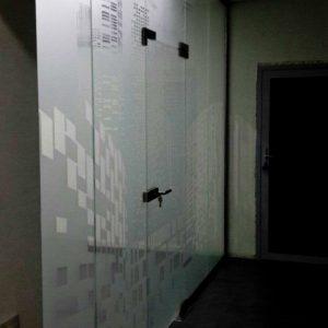 Перегородки из стекла с матовым рисунком